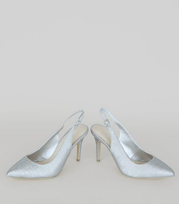 Silver Comfort Glitter Pointed Sling Back Heels