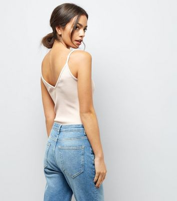 Pink Ribbed Strap Front Bodysuit New Look