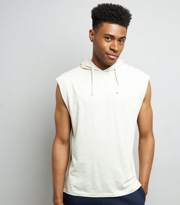Cream Sleeveless Hoodie New Look