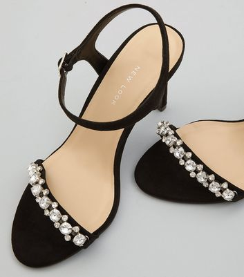 Wide Fit Black Gem Stone Strap Heeled Sandals