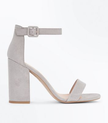 Grey Ankle Strap Block Heels New Look