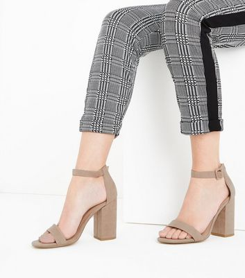 Light Brown Ankle Strap Block Heels New Look