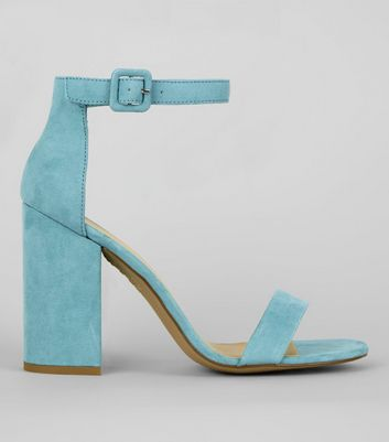 Pale Blue Suedette Barely There Block Heels by New Look