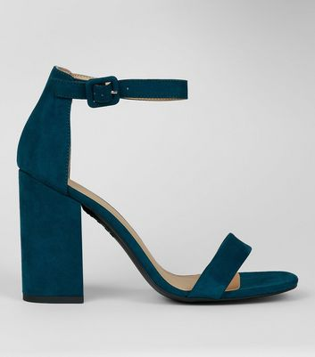 Teal Ankle Strap Block Heels New Look
