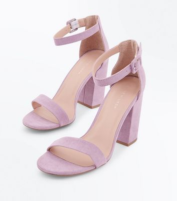Lilac Ankle Strap Block Heels New Look