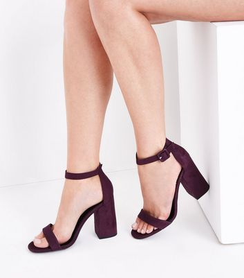 Dark Purple Ankle Strap Block Heels New Look