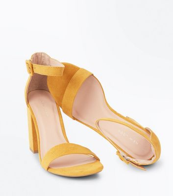 Mustard Yellow Ankle Strap Block Heels New Look