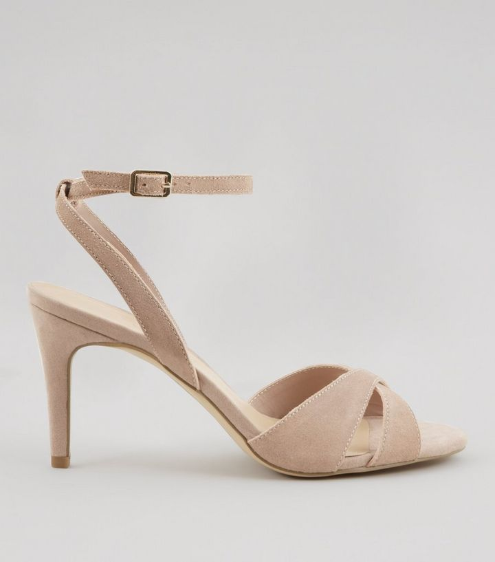 564b9d454d Nude Suede Cross Front Ankle Strap Heels