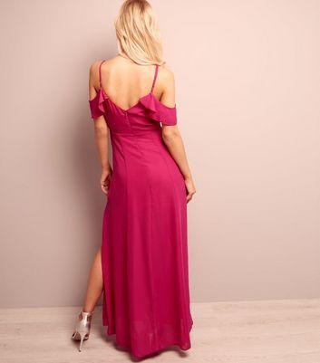 Bright Pink Cold Shoulder Split Side Maxi Dress New Look