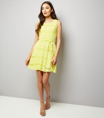 Mela Yellow Lace Tie Waist Dress New Look