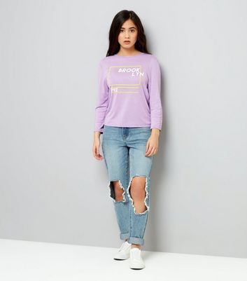 Teens Lilac Brooklyn 92 Print Long Sleeve Top New Look