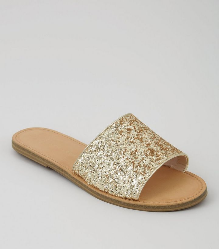 dfd9de13485e Wide Fit Gold Glitter Mules | New Look