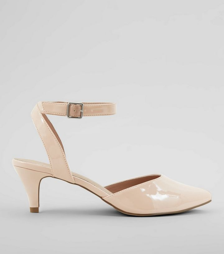 442e8dbed29 Wide Fit Nude Pink Comfort Patent Kitten Heels