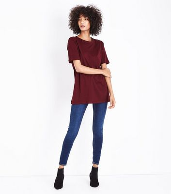 Tall Burgundy Oversized T-Shirt New Look