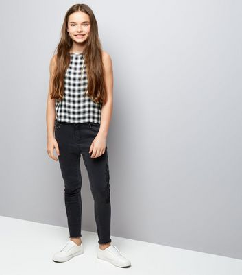 Teens Black Check High Neck Cami New Look