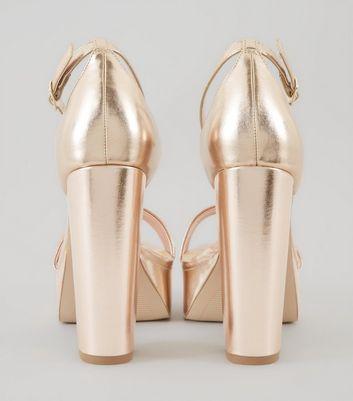 Wide Fit Rose Gold Metallic Platform Heels New Look