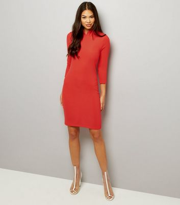 Red Funnel Neck Ribbed 3/4 Sleeve Dress New Look