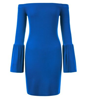 Blue Ribbed Bell Sleeve Bardot Neck Bodycon Dress New Look
