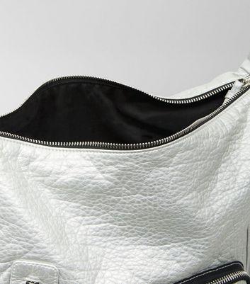 Silver Metallic Oversized Bag New Look