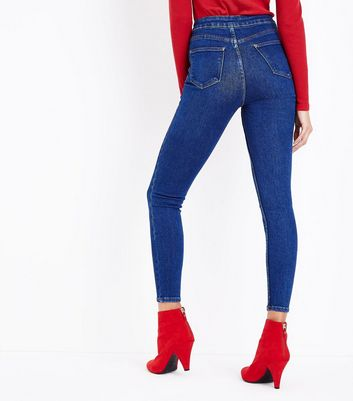 Dark Blue High Waist Super Skinny Hallie Jeans New Look