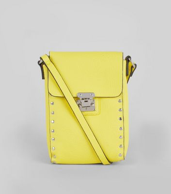 Yellow Studded Cross Body Bag New Look