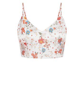 Pink Floral Jacquard Crop Top New Look
