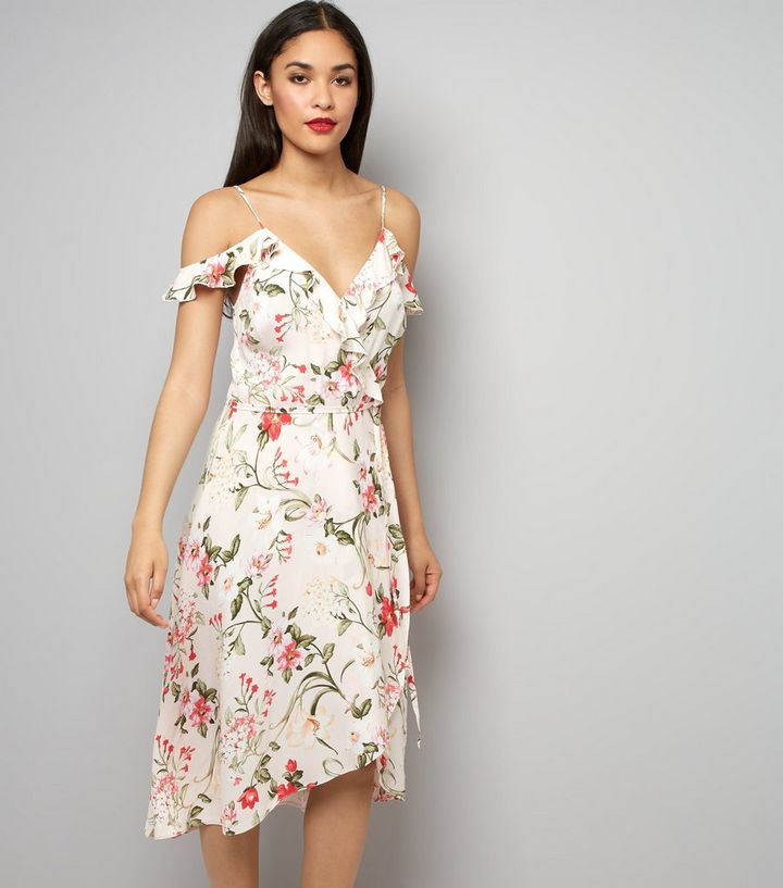 6ece407bde2d1 Pink Floral Print Cold Shoulder Midi Dress | New Look