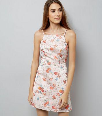 Pink Floral Jacquard Mini Dress New Look