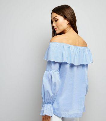 Loving This Blue Stripe Bardot Neck Top New Look