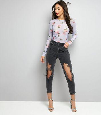 Purple Floral Print Mesh Top New Look