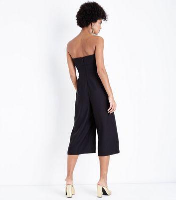 Black Cut Out Front Culotte Jumpsuit New Look