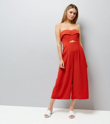 Red Cut Out Front Culotte Jumpsuit New Look