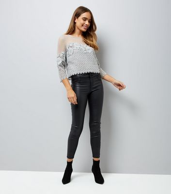 Grey Spot Mesh Lace Panel Top New Look