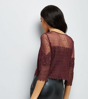 Burgundy Spot Mesh Lace Panel Top New Look