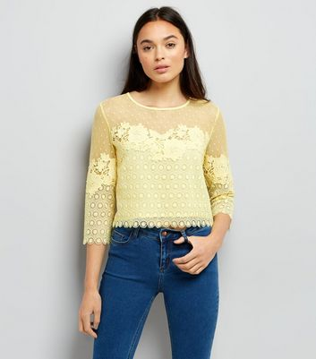 Yellow Spot Mesh Lace Panel Top New Look