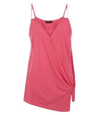 Pink Knot Side Wrap Front Cami Top New Look