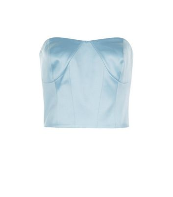 Blue Satin Bandeau Corset New Look