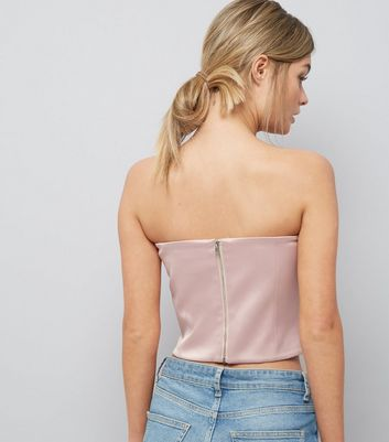 Pink Satin Bandeau Corset New Look