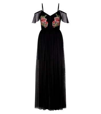 Black Floral Embroidered Mesh Maxi Dress New Look