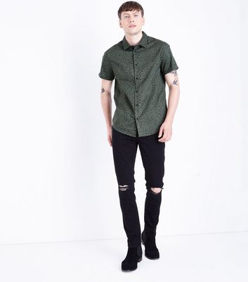 Green Splatter Print Short Sleeve Shirt New Look