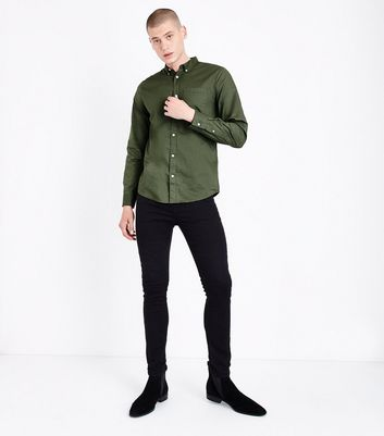 Khaki Washed Cotton Long Sleeve Shirt New Look