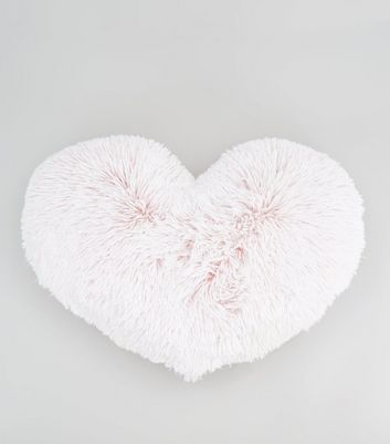 Pink Heart Fluffy Faux Fur Cushion New Look