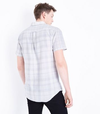 White Check Print Short Sleeve Shirt New Look