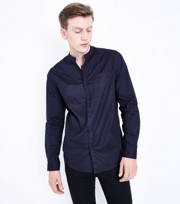 Navy Grandad Shirt New Look