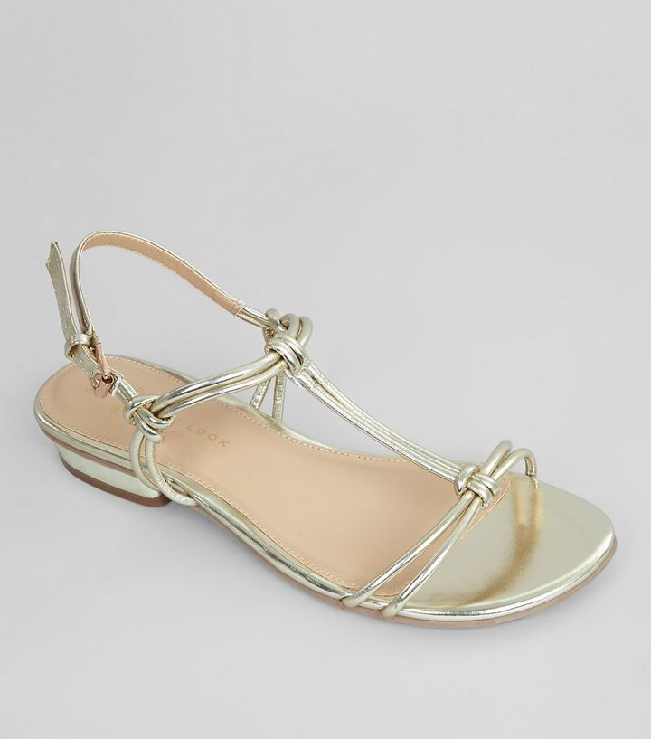 7a034791a03a8e Wide Fit Gold Metallic Knot Front Sandals