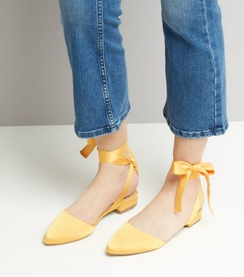 Wide Fit Yellow Satin Ankle Tie Sandals New Look