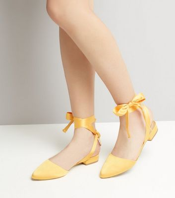 Wide Fit Yellow Satin Ankle Tie Sandals
