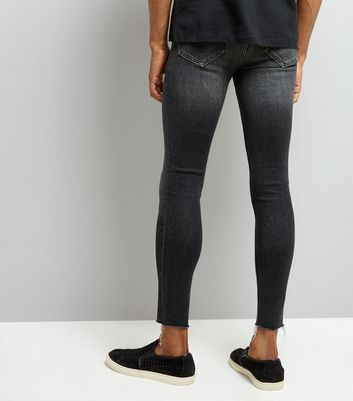 Black Raw Hem Super Skinny Jeans New Look