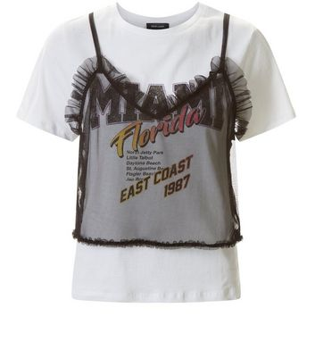 White Miami Print Mesh Cami Top New Look