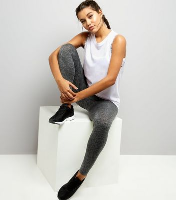 White Don't Sweat It Mesh Tank Top New Look